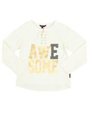 Fashion Tops - Sparkle Lace Up Hacci L/S Shirt (7-16)