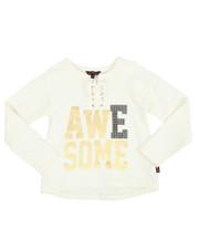 Fashion Tops - Sparkle Lace Up Hacci L/S Shirt (4-6X)