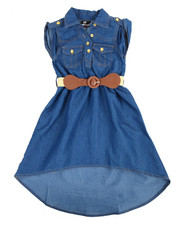 Dresses - Belted Chambray Sleeveless Dress (4-6X)