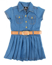 Sizes 2T-4T - Toddler - Pleated Chambray Dress (2T-4T)