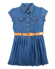 Dollhouse - Pleated Chambray Dress (7-16)