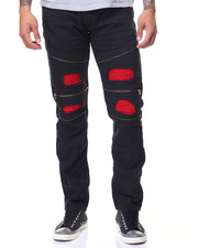 Jeans & Pants - Contrast Backing And Zippers Motto Jeans