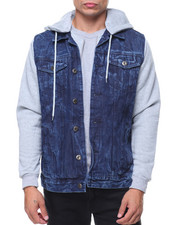 Denim Jackets - Denim Jacket With Fleece Hooded