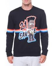 Pullover Sweatshirts - Savage Bart Print Sweat Shirt