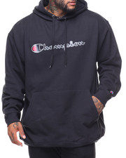 Men - Retro Champion Script Pullover Fleece Hoodie (B&T)