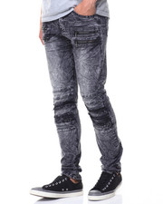 Jeans - Pleated Knee Colored Denim