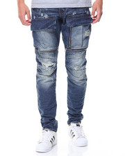 Men - Embossed Jeans Zipper Pockets