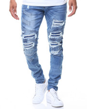 Men - Ripped Motto Backing Jeans