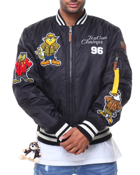 Top Gun - MA1 Champs Bomber Nylon Jacket (Cartoon Patch)