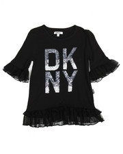 Sizes 7-20 - Big Kids - DKNY Tulle Ruffle Top (7-16)
