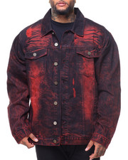 Big & Tall - Destructed Long Sleeve Denim Jacket (B&T)-2141344