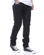 Men - Jet Black Motto Knee Trim Jeans