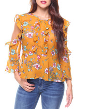 Fashion Tops - Cold Shoulder Floral Peplum Blouse