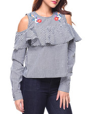 Fashion Tops - L/S Gingham Cold Shoulder Blouse