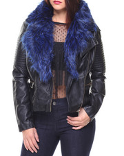 Bebe - Faux Fur Trim Pu Jacket