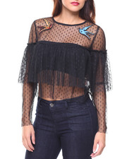 Fashion Tops - L/S Mesh Ruffle Crop Blouse