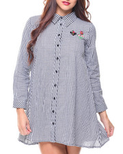 Women - Embroide Gingham Button Down Dress