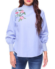 Fashion Tops - Floral Embroidery Stripe Hi-Neck Blouse