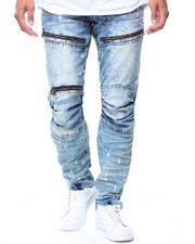 Men - Zipper/Pleats On Denim Splash Paint Jeans