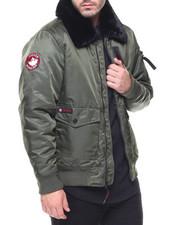 Men - Faux Fur Collar Aviator Jacket