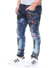 Jeans - Blue-Patches Motto Denim Jean