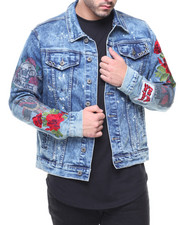 SMOKE RISE - Denim Jacket Roses & Studs