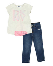 Sizes 2T-4T - Toddler - Pleated Back Top 2-Piece Set (2T-4T)