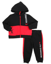 Boys - 2 Piece Zip Hooded Fleece Jacket Long Set (2T-4T)
