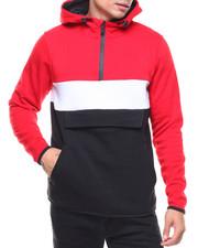 Men - Fleece Color Block Anorak Hoodie