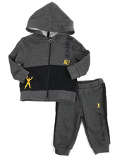 Boys - 2 Piece Zip Hooded Fleece Jacket Long Set (12M-24M)