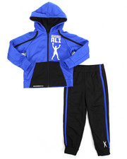 Boys - 2 Piece Zip Hooded Tricot Jacket Long Set (4-7)