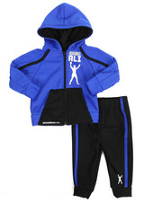Sets - 2 Piece Zip Hooded Tricot Jacket Long Set (12M-24M)