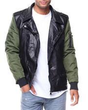 Light Jackets - PU Jacket Nylon Sleeves