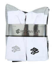 Accessories - 6 Pack Crew Half Cushioned Socks