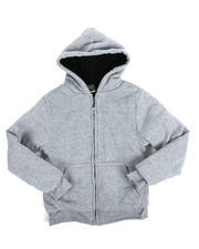 Cyber Monday Deals - Solid Sherpa Lined Full Zip Hoodie (8-20)