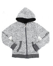 Cyber Monday Deals - Basic Marled Fleece Full Zip Hoodie (8-20)