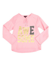 Girls - L/S Sparkle Lace Up Hacci Shirt (7-16)
