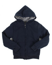 Hoodies - Solid Sherpa Lined Full Zip Hoodie (8-20)-2144536