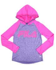Girls - L/S Space Dye Hooded Performance Top (7-16)