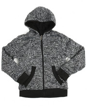 Sizes 8-20 - Big Kids - Basic Marled Fleece Full Zip Hoodie (8-20)