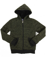 Hoodies - Basic Marled Fleece Full Zip Hoodie (8-20)