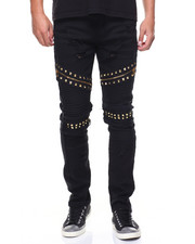 Jeans & Pants - Slim Straight Studded Jeans