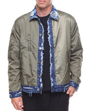 Men - Nylon Jacket Denim Trim Collar