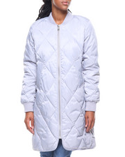 Women - Nylon Quilted Long Faux Down Bomber Jacket