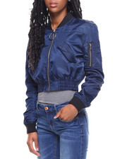 XOXO - Front/Back Zipper Off Shoulder Flight Jacket