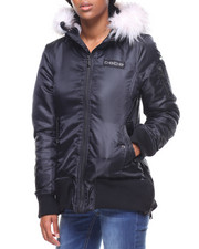 Light Jackets - Faux Fur Hood Nylon Bomber