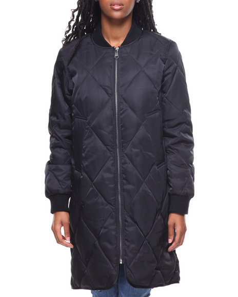 Steve Madden - Nylon Quilted Long Faux Down Bomber Jacket