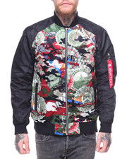 SWITCH - Camo Suede Bomber Jacket Poly Sleeves