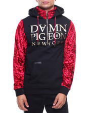 Damn Pigeon Collection - Velvet Sleeve Pullover Hoodie