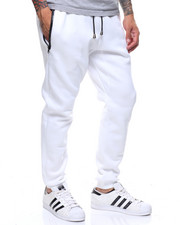 Jeans & Pants - FLEECE JOGGER W COATED TAPE DETAIL